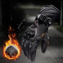 Moderne Motor- en Fietshandschoenen met Contrasterende Kleuren en Pluche Voering