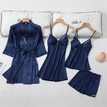 Sexy Vierdelige Nachtkledingset in Effen Kleur bestaande uit een Topje met Bandjes + Shorts + Nachthemd met Bandjes + Badjas