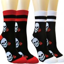 Moderne Sokken in Contrasterende Kleuren met Doodshoofdpatroon