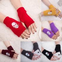 Chique Gebreide Vingerloze Handschoenen met Doodshoofdmotief