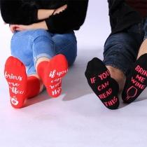 Chique Bedrukte Sokken met Wijnglasmotief