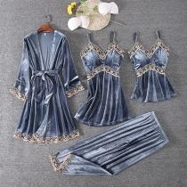 Sexy Vierdelig Nachtkledingsetje met Kanten Design bestaande uit een Topje met Bandjes + Nachthemd met Bandjes + Broekje + Badjas