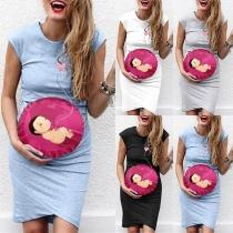 Leuke Zwangerschapsjurk met Babymotief Kapmouwtjes en Ronde Halslijn