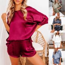 Moderne Pyjama bestaande uit een Topje met Korte Mouwen en Ronde Hals + Shorts