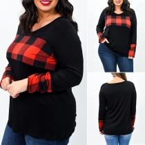 Modern Oversized Geruit Sweatshirt met Lange Mouwen en Ronde Hals