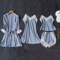 Sexy Nachtkledingset met Kanten Design en Effen Kleur 4 Stuks / Set