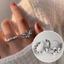 Open Ring in Frisse Stijl in Madeliefjes- / Hartvorm