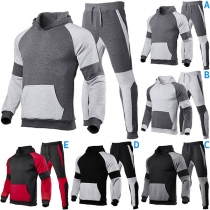 Modieus Sportpak voor Heren in Contrasterende Kleuren bestaande uit een Hoodie met Lange Mouwen + Broek