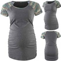 Modern Zwangerschapsshirt met Korte Mouwen met Camouflagepatroon en Ronde Hals