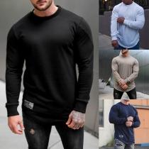 Eenvoudig Sweatshirt voor Heren met Lange Mouwen Ronde Hals en Effen Kleur