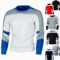 Modern Sweatshirt voor Heren in Contrasterende Kleuren met Lange Mouwen en Ronde Hals