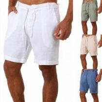 Moderne Shorts voor Heren in Effen Kleur met Trekkoord in de Taille