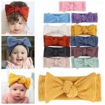 Leuke Elastische Haarbandset met Effen Kleur en Strikje voor Baby's 2 Stuks / Set