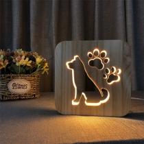 Creatieve Houten Nachtlamp in Schattig Hondendesign