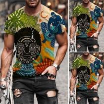 Casual T-shirt voor Heren met Korte Mouwen Ronde Hals en Totemmotief
