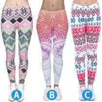 Chique Rekbare Legging met Hoge Taille en Kleurrijk Patroon