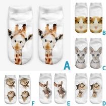 Leuke Onzichtbare Korte Sokken met Dierenmotief