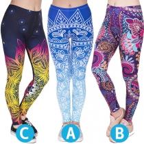Modieuze Rekbare Legging met Kleurrijk Patroon en Hoge Taille