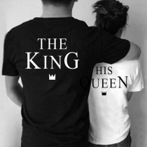 Modern T-shirt voor Koppels met 'King and Queen'-tekst Korte Mouwen en Ronde Hals