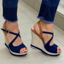 Moderne Open Schoenen met Banjes Sleehak en Vrije Tenen