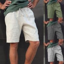 Eenvoudige Casual Knielange Sportieve Short voor Heren in Effen Kleur Taille met Trekkoord