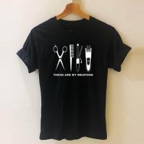 Chique T-shirt met Korte Mouwen Ronde Hals en Knipsetmotief (Geen elastiek)