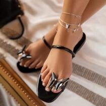Moderne Slippers met Platte Zolen en Vlinder
