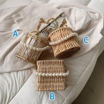 Moderne Schoudertas van Bamboe met Schouderbandje