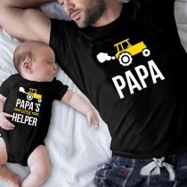 Casual Bedrukt Vader-en-Zoon-T-shirt met een Tractormotief en het Woord PAPA
