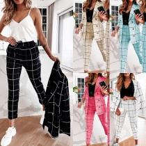 Stijlvol Geruit Pak bestaande uit een Blazer met Lange Mouwen en Double-Breasted Design + Pantalon