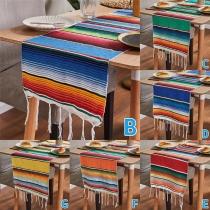 Tafelkleed in Boheemse Stijl met Kleurrijke Strepen in Regenboogkleuren