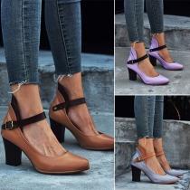 Moderne Schoenen met Dikke Hoge Hakken Effen Kleur en Ronde Uiteinden