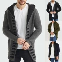 Modern Vest voor Heren in Effen Kleur met Lange Mouwen en Capuchon