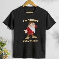 Leuk T-shirt met Kerstman en Tekstprint Korte Mouwen en Ronde halslijn