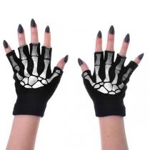 Chique Gebreide Handschoenen met Halve Vingers en een Skeletmotief
