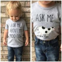 Casual T-shirt voor Kinderen met Korte Mouwen Ronde Hals en Tekstprint