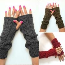 Moderne Gebreide Warme Vingerloze Handschoenen in Effen Kleur