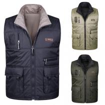 Modieus Mouwloos Vest voor Heren in Effen Kleur met Opstaande Kraag en Zakken