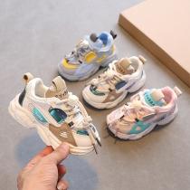 Moderne Ademende Sneakers voor Kinderen in Contrasterende Kleuren met Ronde Neuzen en Tule