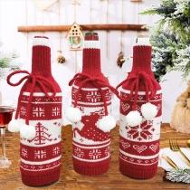 Leuke Gebreide Wijnfleshoes met Kerstpatroon en Pompons 3 Stuks / Set