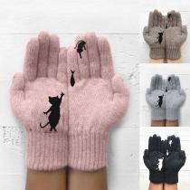Schattige Wollen Handschoenen met Kat en Vismotief