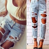 Sexy Opengewerkt Kapot Gescheurde Hoge Taille Jeans
