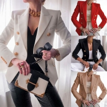 Stijlvolle Blazer met Lange Mouwen en een Double-Breasted Design