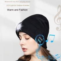 Draadloze bluetooth-muts met 5 LED-hoofdlamp, Unisex-Muziekmuts, Oplaadbare USB-Hoofdlamp Hoofdtelefoon-Muziekmuts voor Buitensporten