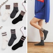 Moderne Ademende Sokken met Luipaardpatroon 3 Stuks/Set