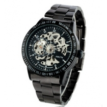 Auto-Mechanical Self-Winding Hollow Engraving Silver Alloy Band Analog Wrist Watch