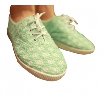 Sweet Green Lace Spliced Lace-up Shoes